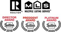 MLS - REALTOR - Sutton Director Award 2018 - Sutton President Award 2019